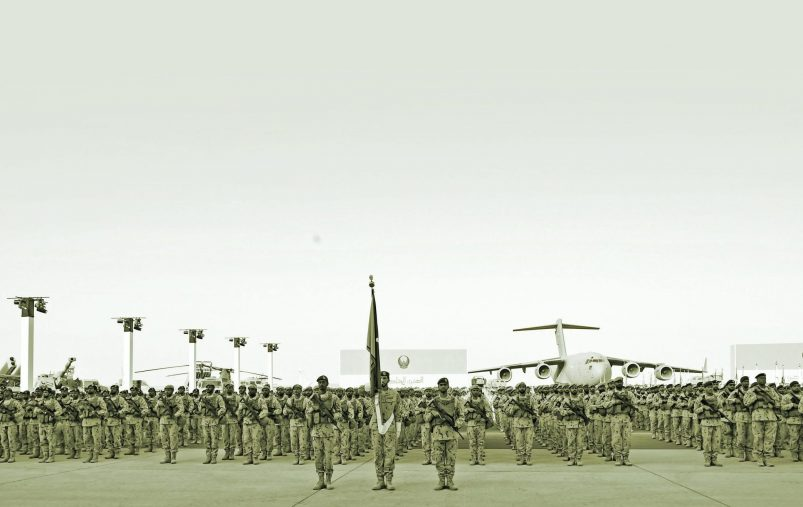 SWEIHAN, ABU DHABI, UNITED ARAB EMIRATES - February 09, 2020: Military personnel participate in a parade during a reception to celebrate and honor members of the UAE Armed Forces who served in the Arab coalition in Yemen, at Zayed Military City.  ( Saeed Al Neyadi / Ministry of Presidential Affairs ) ---