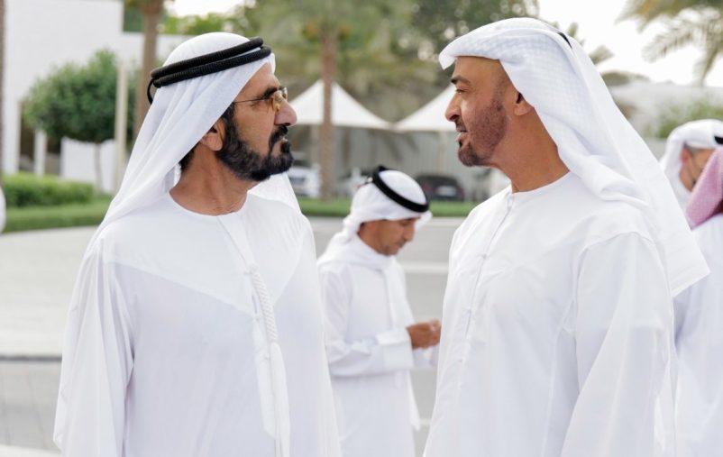 ABU DHABI, UNITED ARAB EMIRATES - May 02, 2021: HH Sheikh Mohamed bin Zayed Al Nahyan, Crown Prince of Abu Dhabi and Deputy Supreme Commander of the UAE Armed Forces (L) receives HH Sheikh Mohamed bin Rashid Al Maktoum, Vice-President, Prime Minister of the UAE, Ruler of Dubai and Minister of Defence (L), at Al Shati Palace.  ( Handout ) ---