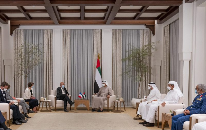 ABU DHABI, UNITED ARAB EMIRATES - August 23, 2021: HH Sheikh Mohamed bin Zayed Al Nahyan, Crown Prince of Abu Dhabi and Deputy Supreme Commander of the UAE Armed Forces (4th R) meets with HE Jean-Yves Le Drian, Minister of Europe and Foreign Affairs of France (5th R) and HE Florence Parly, Minister of the Armed Forces of France (6th R), at Al Shati Palace. Seen with HE Major General Essa Saif Al Mazrouei, Deputy Chief of Staff of the UAE Armed Forces (R), HE Khaldoon Khalifa Al Mubarak, CEO and Managing Director Mubadala, Chairman of the Abu Dhabi Executive Affairs Authority and Abu Dhabi Executive Council Member (2nd R) and HE Dr Anwar Mohamed Gargash, Diplomatic Advisor to the President  (3rd R).  ( Hamad Al Kaabi / Ministry of Presidential Affairs ) ---