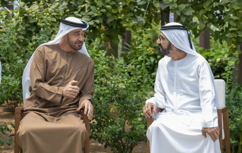 ABU DHABI, UNITED ARAB EMIRATES - August 25, 2021: HH Sheikh Mohamed bin Zayed Al Nahyan, Crown Prince of Abu Dhabi and Deputy Supreme Commander of the UAE Armed Forces (L) meets with HH Sheikh Mohamed bin Rashid Al Maktoum, Vice-President, Prime Minister of the UAE, Ruler of Dubai and Minister of Defence (R), at Al Shati Palace.  ( Hamad Al Kaabi / Ministry of Presidential Affairs ) ---