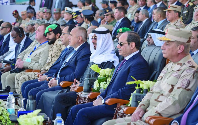 BERENICE, EGYPT - January 15, 2020: HH Sheikh Mohamed bin Zayed Al Nahyan, Crown Prince of Abu Dhabi and Deputy Supreme Commander of the UAE Armed Forces (3rd R) and HE Abdel Fattah El Sisi, President of Egypt (2nd R), attend the opening ceremony of Berenice Military Base. Seen with HE Boyko Borissov, Prime Minister of Bulgaria (4th R) and HH Sheikh Nasser bin Hamad bin Isa Al Khalifa (6th R).  ( Hamad Al Kaabi /  Ministry of Presidential Affairs ) —