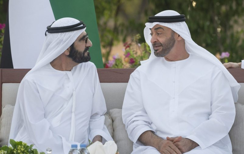 AL AIN, UNITED ARAB EMIRATES - December 09, 2019: HH Sheikh Mohamed bin Zayed Al Nahyan, Crown Prince of Abu Dhabi and Deputy Supreme Commander of the UAE Armed Forces (R) and HH Sheikh Mohamed bin Rashid Al Maktoum, Vice-President, Prime Minister of the UAE, Ruler of Dubai and Minister of Defence (L), attend Al Maqam Palace barza.  ( Hamad Al Kaabi / Ministry of Presidential Affairs )​ ---