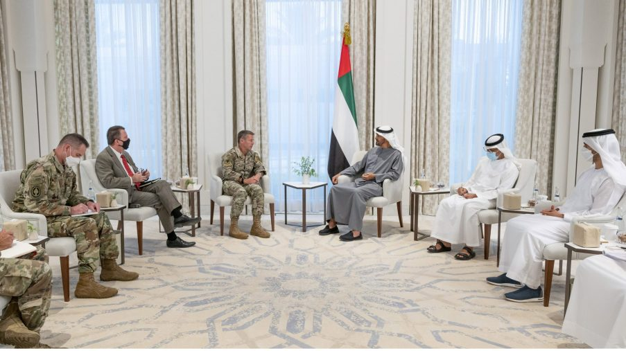 ABU DHABI, UNITED ARAB EMIRATES - June 16, 2021: HH Sheikh Mohamed bin Zayed Al Nahyan, Crown Prince of Abu Dhabi and Deputy Supreme Commander of the UAE Armed Forces (Centre R), meets with General Austin S. Miller, Commander of NATO's Resolute Support Mission and US Forces in Afghanistan (Centre L), at Al Shati Palace. Seen with  HH Sheikh Hamdan bin Mohamed bin Zayed Al Nahyan (R) and HE Major General Essa Saif Al Mazrouei, Deputy Chief of Staff of the UAE Armed Forces (2nd R).  ( Hamad Al Kaabi / Ministry of Presidential Affairs ) ---