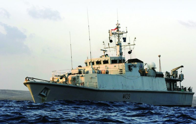 Sandown Class Mine Countermeasures Vessel HMS Bangor is pictured near Tobruk, Libya.   HMS Bangor and HMNS Vlaardigen had been given the task of clearing a shipping lane into the Key Port of Tobruk, Libya. Once this task had been completed HMS Bangors divers seized the opportunity to hone their skills in the shallow waters off the Libyan coast.  HMS Bangor is the ninth of the Sandown class of minehunters and was built by Vosper Thorneycroft UK Ltd at Woolston, Southampton. She was launched on the 16th April 1999 by Lady Lisa Spencer.  HMS Bangor is the first ship to be closely affiliated to Northern Ireland for over 15 years and has other official affiliations with the town of Bangor, Bangor Combined Cadet Force and Bangor Grammar School. The crew are very proud of her battle honours from Dieppe in 1942, Normandy and the English Channel in 1944 and most recently Al Faw in 2003.