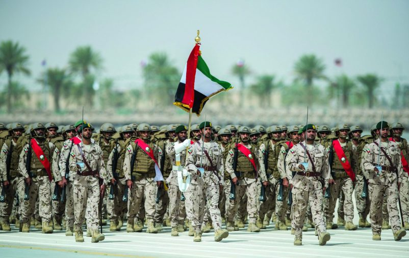 HAFAR AL BATIN CITY, SAUDI ARABIA - March 11, 2016: UAE Armed Forces participate in the parade concluding the North Thunder military exercise.   ( Rashed Al Mansoori / Crown Prince Court - Abu Dhabi  ) ---