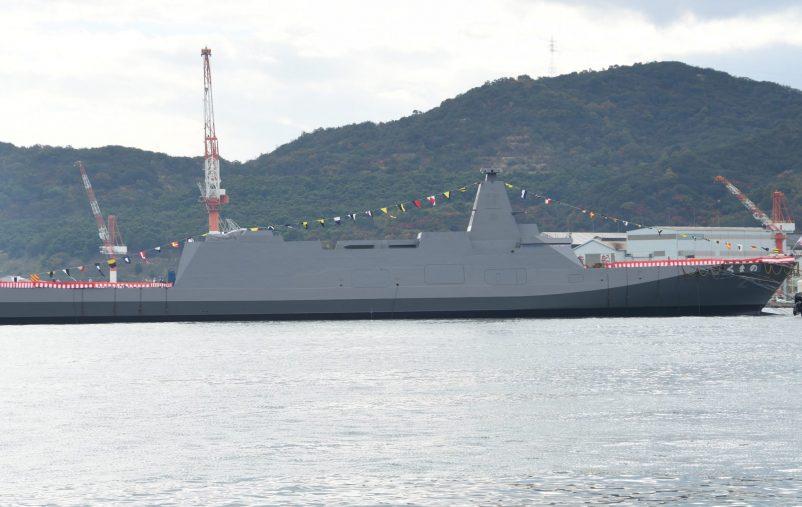 JS_Kumano(FFM-2)_right_side_view_at_Mitsui_Engineering_&_Shipbuilding_Tamano_Shipyard_November_19,_2020