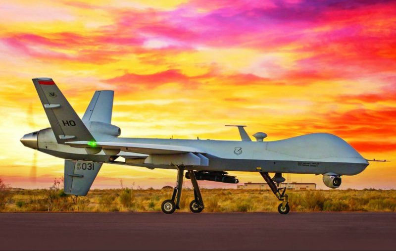 An MQ-9 Reaper remotely piloted aircraft taxis on the flightline at Holloman Air Force Base, N.M., Dec. 19, 2016. (U.S. Air Force photo by J.M. Eddins Jr.)