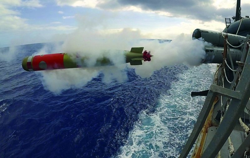 190312-N-WK982-2001 PHILIPPINE SEA (March 12, 2019) A mark 46 shallow water exercise torpedo is fired from the weather deck of the Arleigh Burke-class guided-missile destroyer USS McCampbell (DDG 85) while operating in the Philippine Sea during a live-fire exercise. U.S. Navy warships train together to increase the tactical proficiency, lethality, and interoperability of participating units in an Era of Great Power Competition. (U.S. Navy photo by Mass Communication Specialist 2nd Class John Harris/Released)