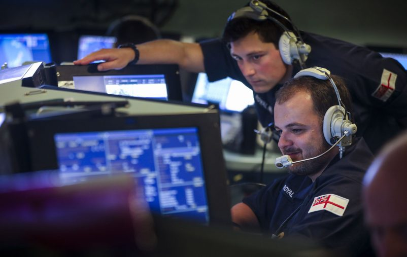 The operations room of one of the Royal Navy's most modern warships the Type 45 destroyer HMS Dragon during an air defence exercise off the Scottish, Hebride Isles  23 May 2021  Image from the Type 45 destroyer HMS Dragon