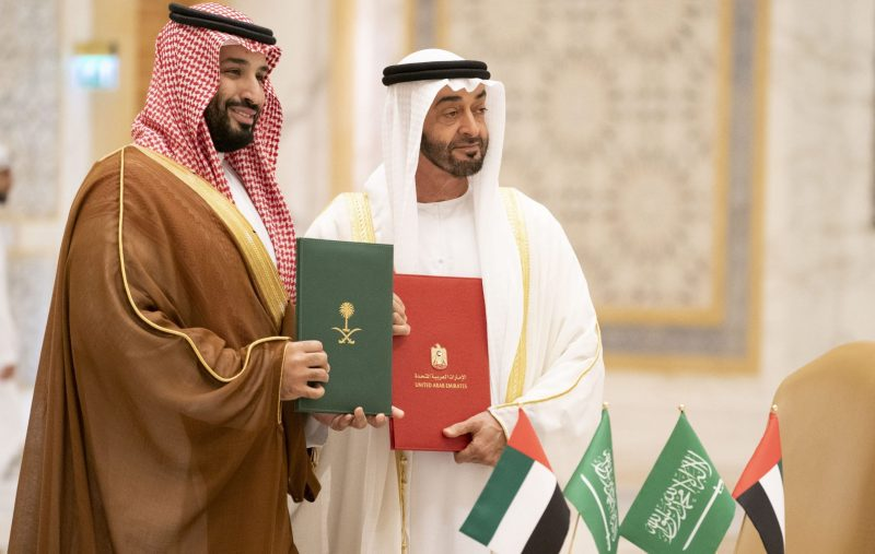 ABU DHABI, UNITED ARAB EMIRATES - November 27, 2019: HH Sheikh Mohamed bin Zayed Al Nahyan, Crown Prince of Abu Dhabi and Deputy Supreme Commander of the UAE Armed Forces (R) and HRH Prince Mohamed bin Salman bin Abdulaziz, Crown Prince, Deputy Prime Minister and Minister of Defence of Saudi Arabia (L), stand for a photograph after signing the minutes of the Saudi-Emirati Coordination Council during a state visit, at Qasr Al Watan.  ( Rashed Al Mansoori / Ministry of Presidential Affairs ) ---