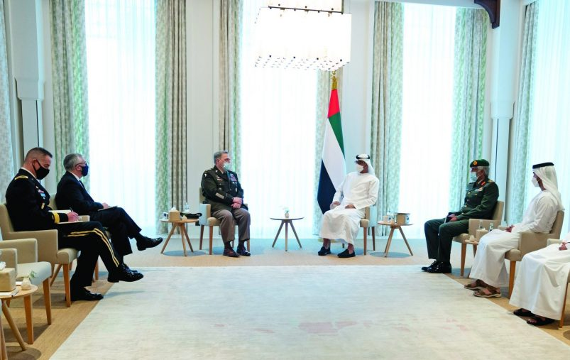 ABU DHABI, UNITED ARAB EMIRATES - December 18, 2020: HH Sheikh Mohamed bin Zayed Al Nahyan, Crown Prince of Abu Dhabi and Deputy Supreme Commander of the UAE Armed Forces (5th R), meets with General Mark A. Milley, Chairman of the U.S. Joint Chiefs of Staff (6th R), at Al Shati Palace. Seen with (R-L) HE Mohamed Mubarak Al Mazrouei, Undersecretary of the Crown Prince Court of Abu Dhabi, HH Sheikh Mohamed bin Hamad bin Tahnoon Al Nahyan, HH Sheikh Hamdan bin Mohamed bin Zayed Al Nahyan and HE Brigadier General Saleh Mohamed Saleh Al Ameri, Commander of the UAE Ground Forces.  ( Hamad Al Kaabi / Ministry of Presidential Affairs ) ---