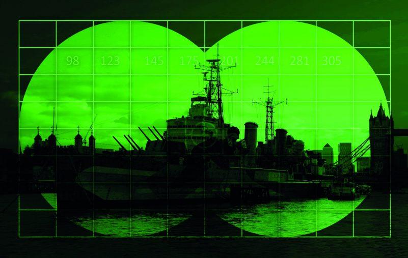 Warship on river - view through night vision