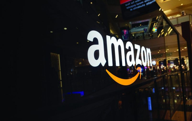 SAN FRANCISCO - OCTOBER 11:  Amazon logo on black shiny wall in mall California October 11, 2015.  Amazon is a American international electronic commerce company and world's largest online retailer.