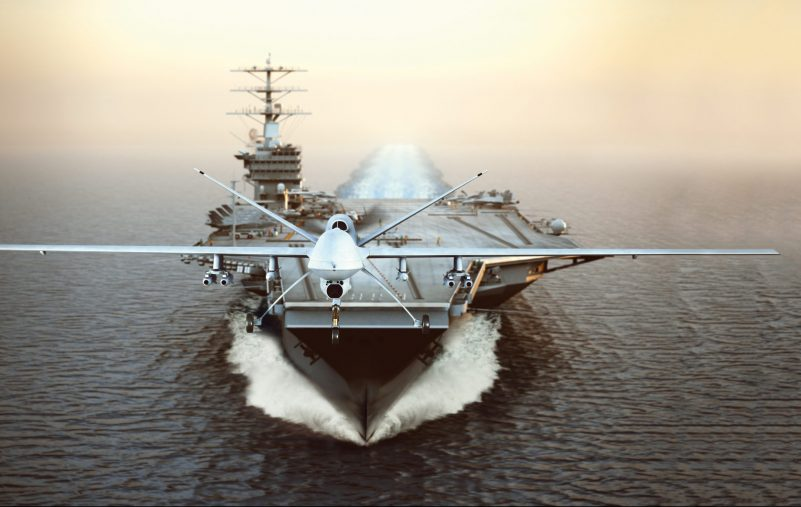 Military,Drone,Aircraft,Launching,From,An,Aircraft,Carrier,On,A