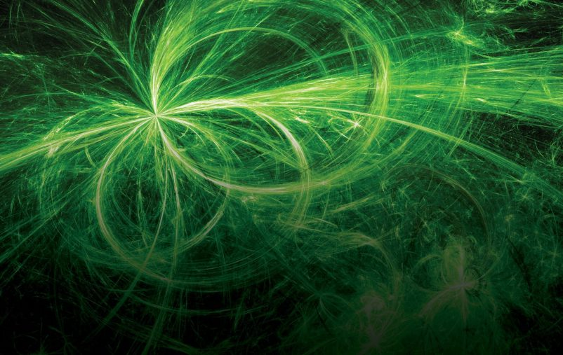 Green,Glowing,Electromagnetic,Plasma,Fields,In,Space,,Computer,Generated,Abstract